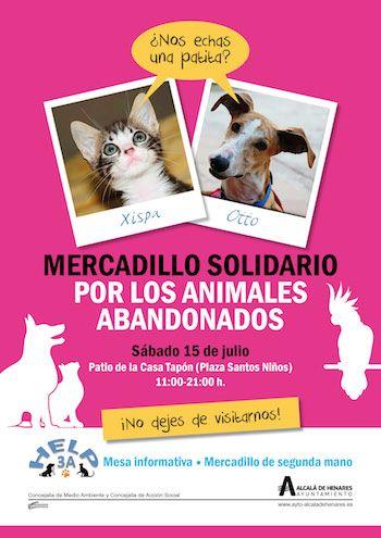 El próximo sábado, 15 de julio, el patio de la Casa Tapón de Alcalá de Henares (C/ San Felipe Neri, esquina con Pza. de los Santos Niños) acogerá, de 11 a 21 horas, una nueva edición de la Jornada de Solidaridad Animal en Alcalá de Henares.