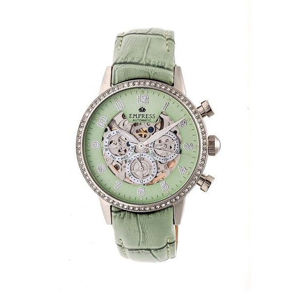 Empress Beatrice Green Skeleton Dial Green Leather Strap Ladies Watch (20.338.485 IDR) ❤ liked on Polyvore featuring jewelry, watches, transparent watches, dress watches, skeleton wrist watch, stainless steel jewelry and green watches