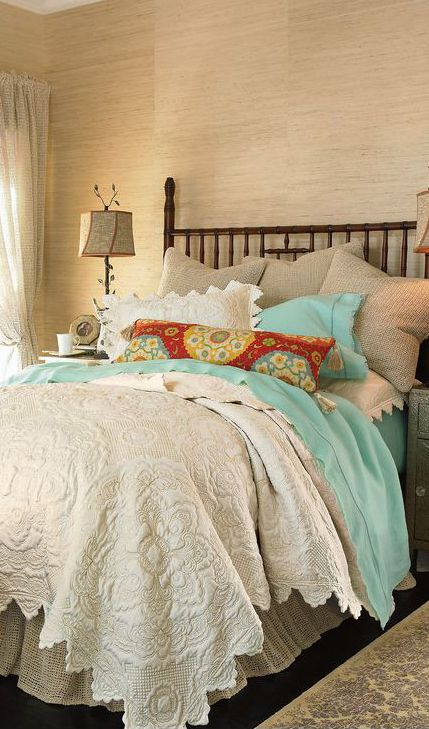 Great way to dress up a neutral....get sick of it, just change a pillow or two and the sheets!