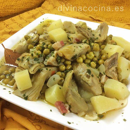 alcauciles con patatas y guisantes