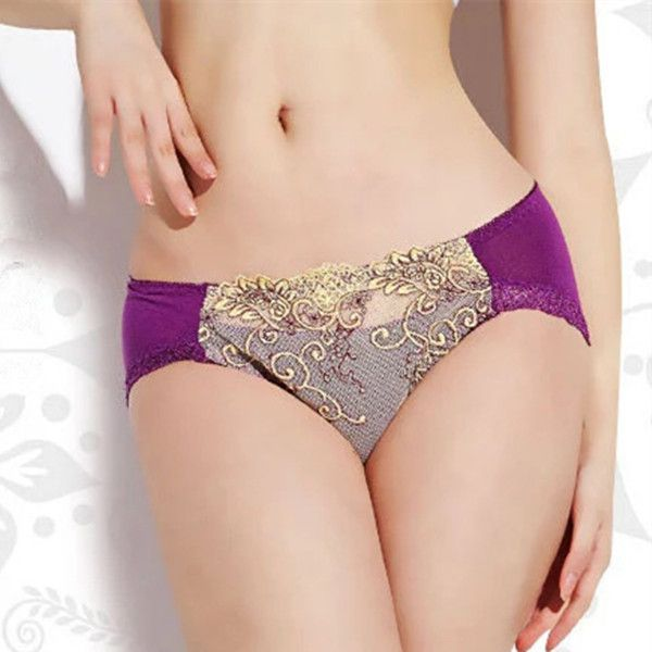 Sexy Lace Embroidery Bamboo Fiber Elegant Panties Pure Color Mid Waist Underwear…