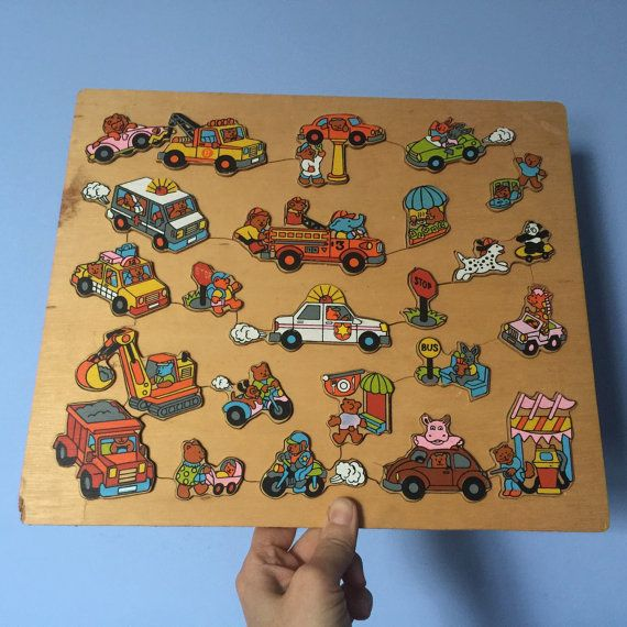 Transport Wooden Puzzle - Richard Scarry style