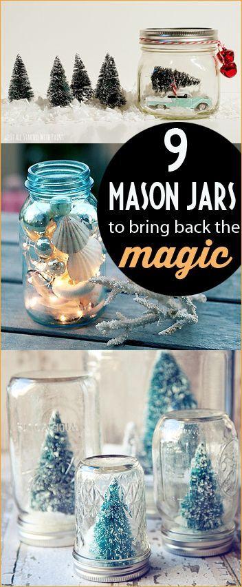 9 Magical Mason Jar Projects.  Christmas jars to celebrate the holidays.  Light up mason jars the whole family will enjoy.  Homemade Christmas gifts.