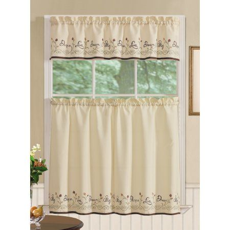 RT Designers Collection Dream Tier and Valance Kitchen Curtain Set, Beige
