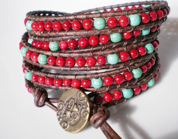 Leather Wrap Bracelet Beaded Leather Cuff Red and by RopesofPearls