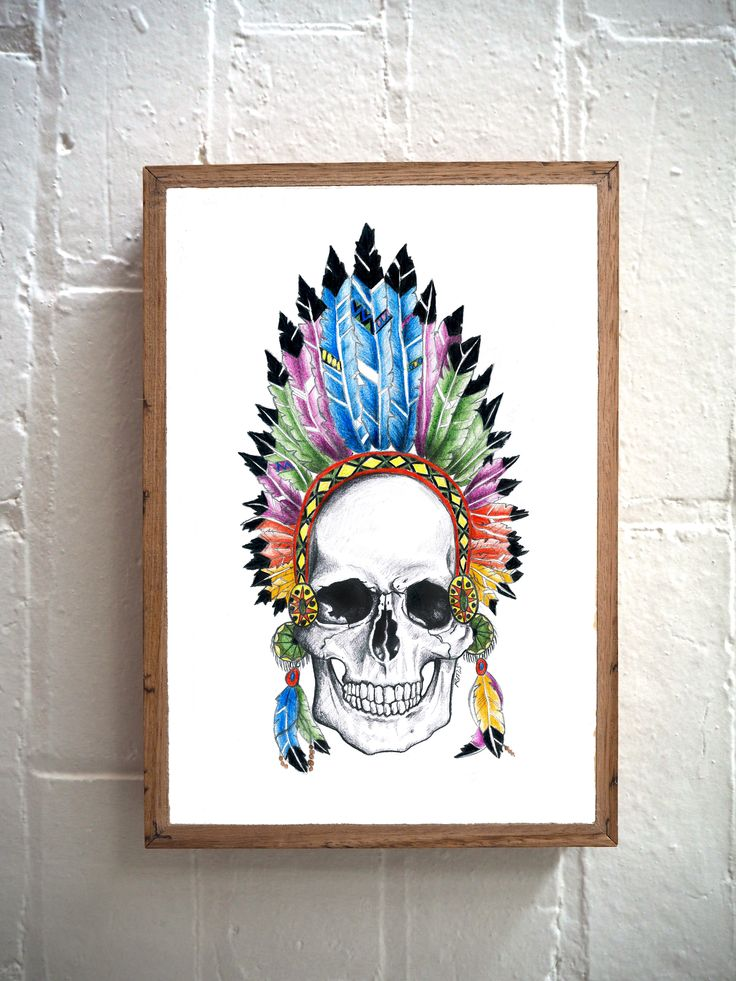 Feathered Skull print on stone by artist @rachaelsowinskaillustration. A selection of her amazing work is available to buy as prints on our stone and reclaimed timber panels. Email us for details: hello@imogenstone.com.au  ~ Imogen Stone ~