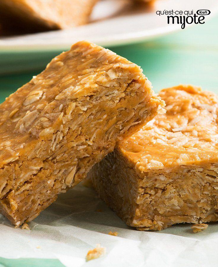 Barres au beurre d'arachide, à la noix de coco et à l'avoine #recette