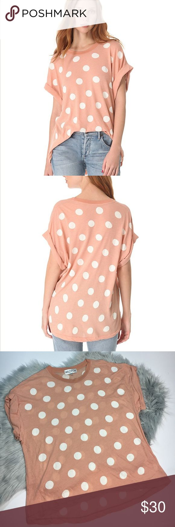 Wildfox polka dot boy tee shirt New M An oversized polka-dot tee evokes a fun, playful mood. Cuffed short sleeves.  Fabric: Soft jersey. 50% cotton/50% polyester. Hand wash. Made in the USA.  MEASUREMENTS Length: 24in / 61cm, from shoulder Style # WILDF40420 Wildfox Tops Tees - Short Sleeve