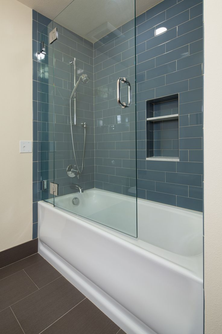 Bathroom, : Terrific Pearl District Condo Bathroom Design Including  Rectangular White Bathtub With Half Glass Door Also Recessed Storage And  Oak Brook Slide ...