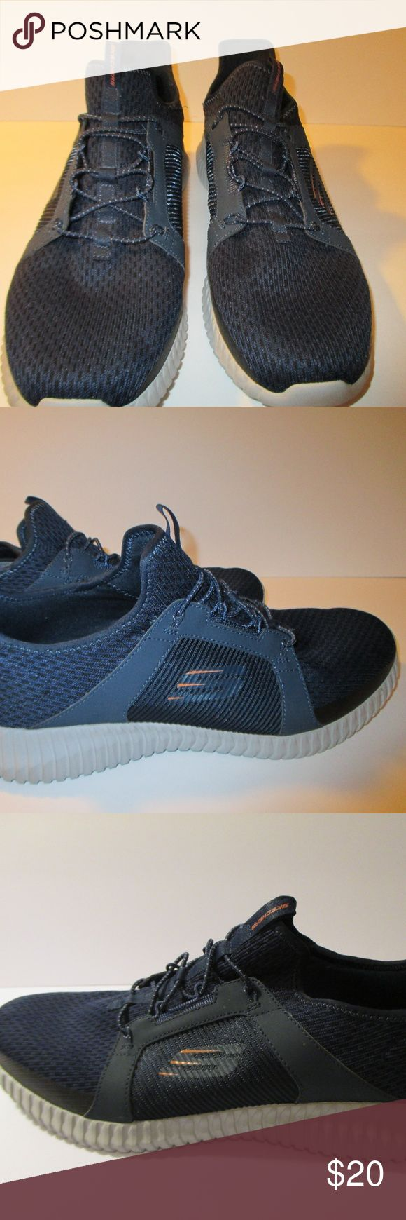 """Skechers Air-Cooled Memory Foam Men Shoes Skechers Air-Cooled Memory Foam Athletic shoes Mens size 11.5 Mesh and synthetic fabric- comfort midsole Navy  Bungee shoe lace  1 1/2"""" heel  Excellent preowned condition worn twice Skechers Shoes Sneakers"""