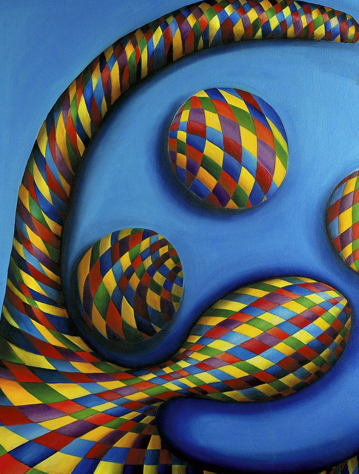 "Oil painting ""Game on blue"" by Vassiliki (b.1960)"