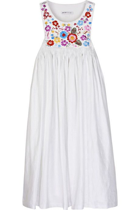 See by Chloé Embroidered linen smock dress