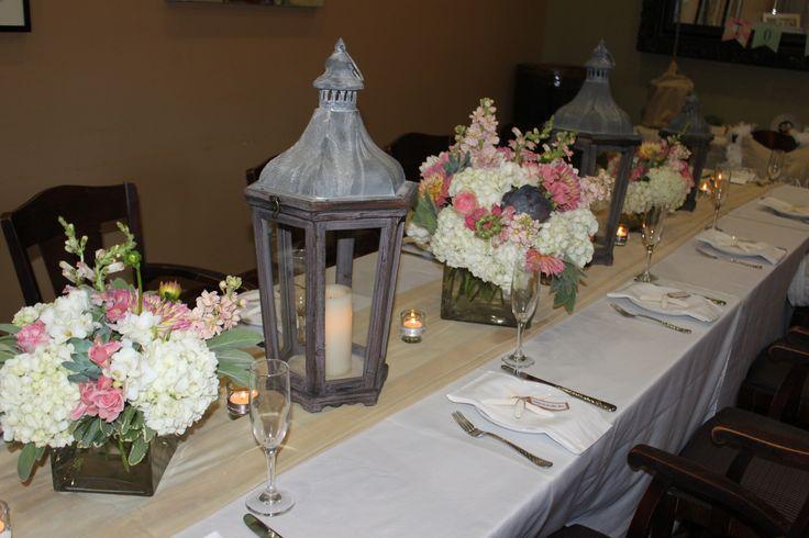 Hydrangea & Succulent centerpieces