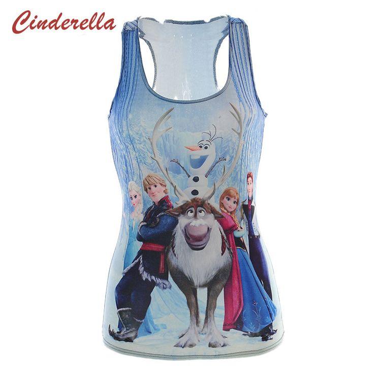 Harajuku Personalized 3D Digital Froze Thin Cartoon T Shirt Blue Snow Queen Aisha Sexy Anna Hans Tops Women Sporting Vest 2016
