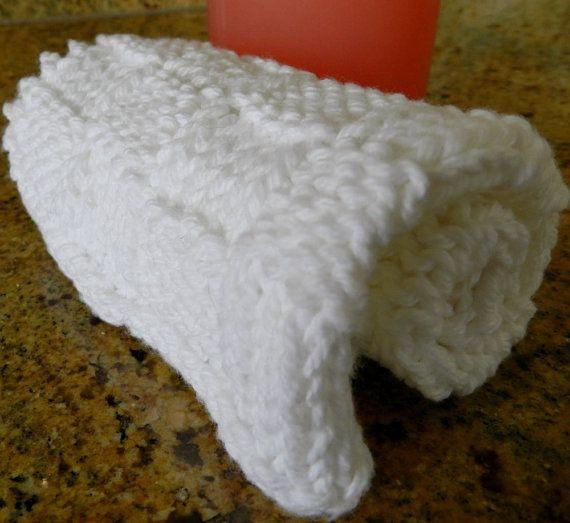 Cotton Washcloth White Hand Knit Washcloth White Bath by Cozy