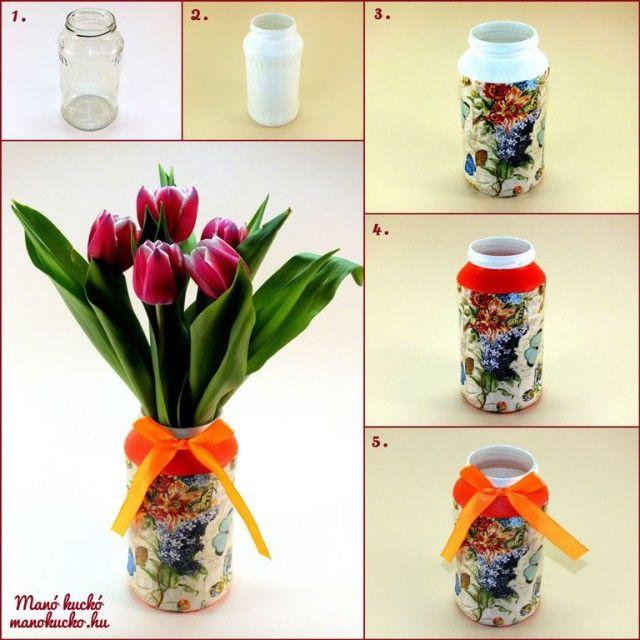 Befőttes üvegből váza - Manó kuckó