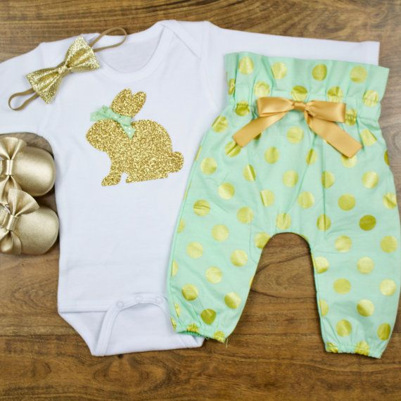 baby girl Easter outfit | Gold Bunny | Baby Easter Bunny Outfit | Mint High Waisted Pants With Gold Easter Bunny outfit