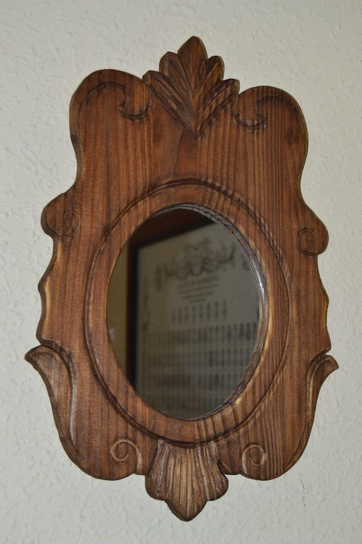 Artesan a r stica en madera marco cornucopia tallado a for Disenos de espejos tallados en madera