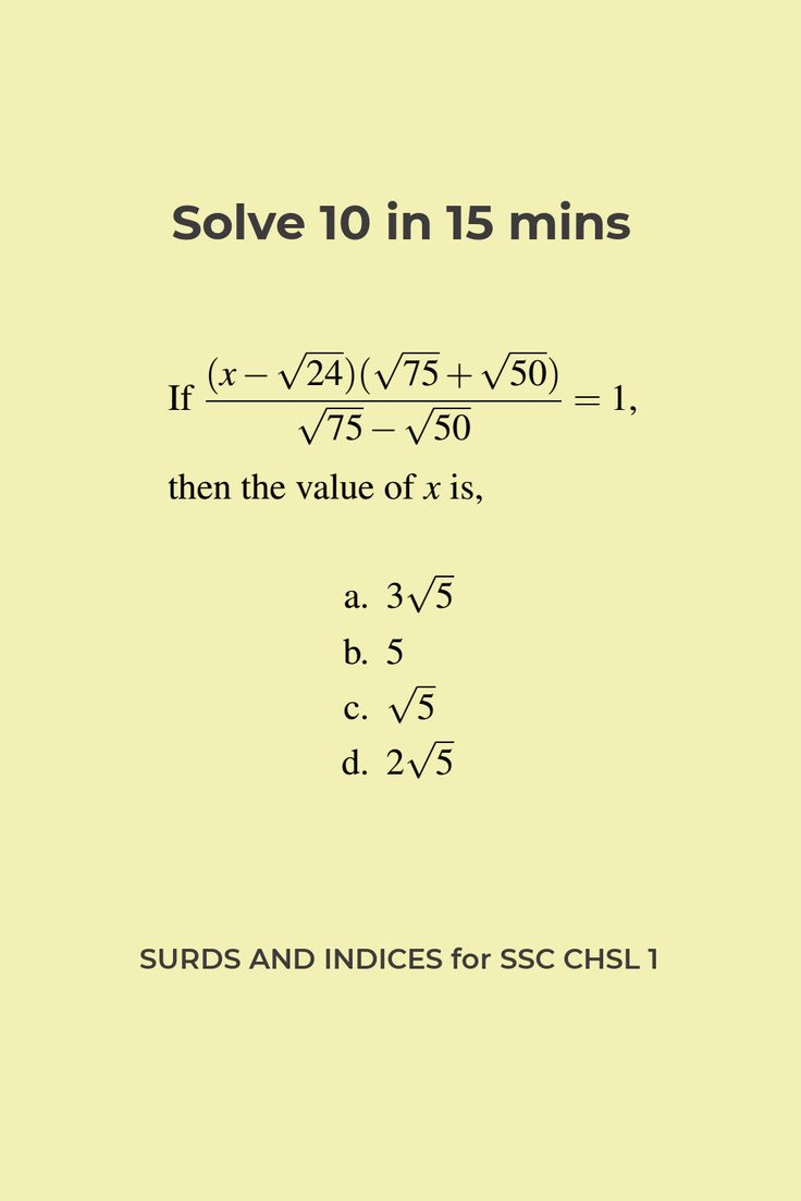 Surds And Indices Questions For Ssc Chsl Answers And Solution 1 In 2021 Maths Solutions Math Formulas Index Addition and subtraction of surds