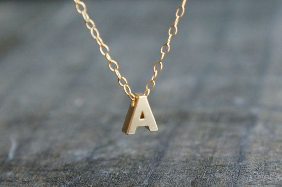Gold Initial Necklace / Gold Letter Initial Personalized Necklace Gold Filled Chain ... choose your letter