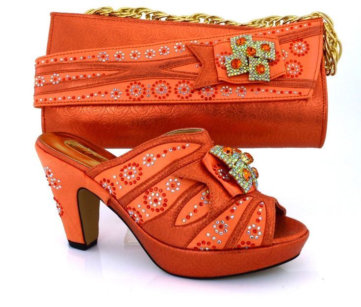 62.04$  Buy here - http://alitzh.worldwells.pw/go.php?t=32741246807 - orange!wholesale Italian ladies shoes and bags set! high quality African shoes and matching bags for wedding!   VB1-87 62.04$