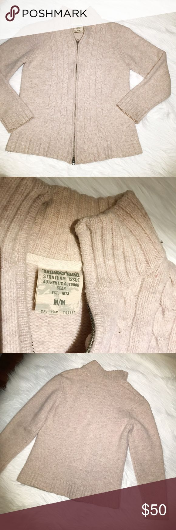 """Men's Timberland Beige Knit Lambswool Sweater Med Men's Timberland Stratham Issue Beige Lambswool Knit Zipper Sweater Medium  Gently used, no flaws. Please see photos for details   Armpit to armpit -- 18"""" Length -- 26"""" Timberland Sweaters Crewneck"""