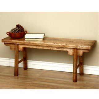 this Rustic Mongolian Bench will be a functional addition to your living room. This piece has been handmade of mahogany wood.