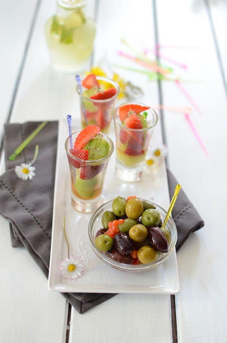 Salade en verrine de fraises et billes de concombre #recette #apéro #verrine