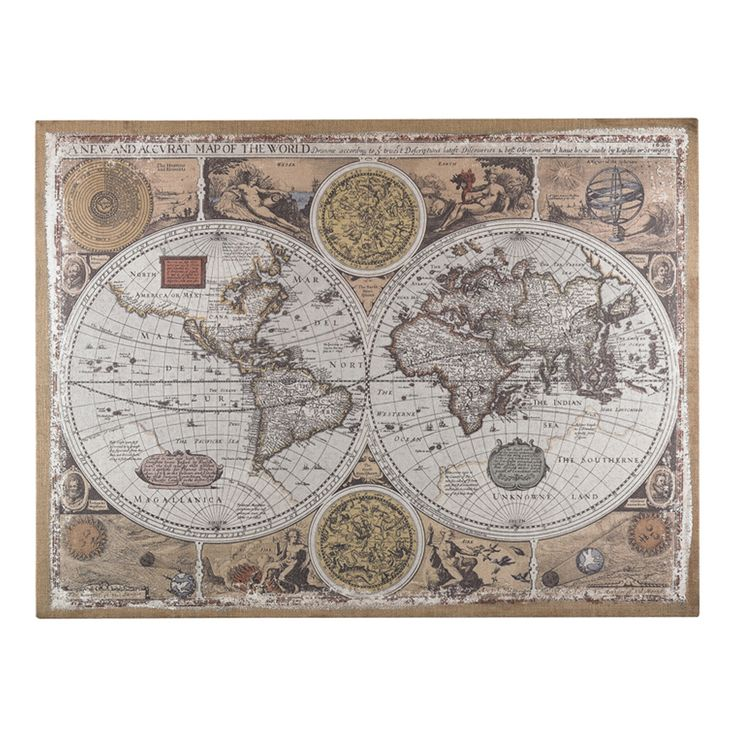 Antique Style World Map Wall Art 23