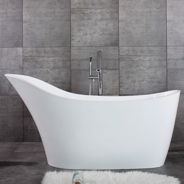68 Freestanding Solid Surface Stone Resin Slipper Bathtub With Drain And Overflow In Glossy Matte White Slipper Bathtub Bathtub Free Standing Bath Tub