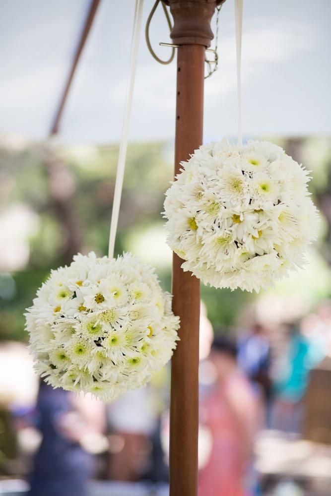 Hanging flower balls - adorable! www.touchedbyangels.com.au