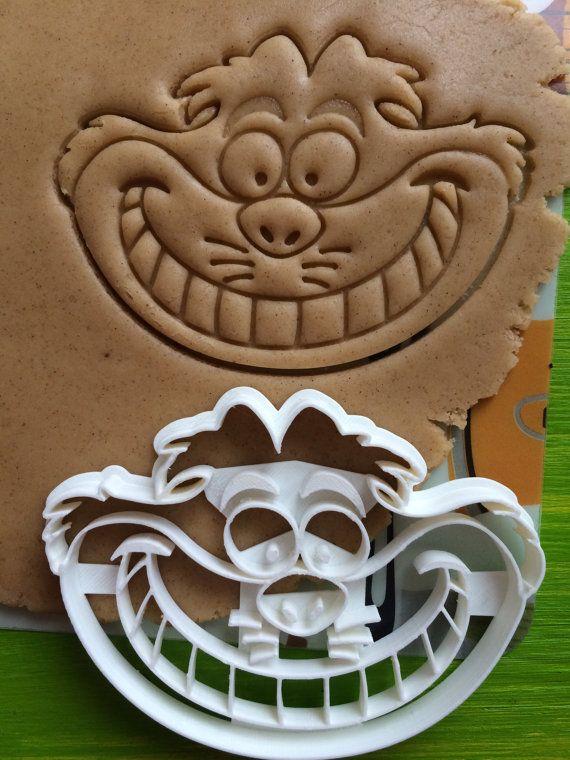 Chapelier fou cookie Cutter Set chat du cheshire alice au pays des merveilles 4 pièce squalelets féroces cookies forme personnalisée taille faite sur commande personnalisée photo