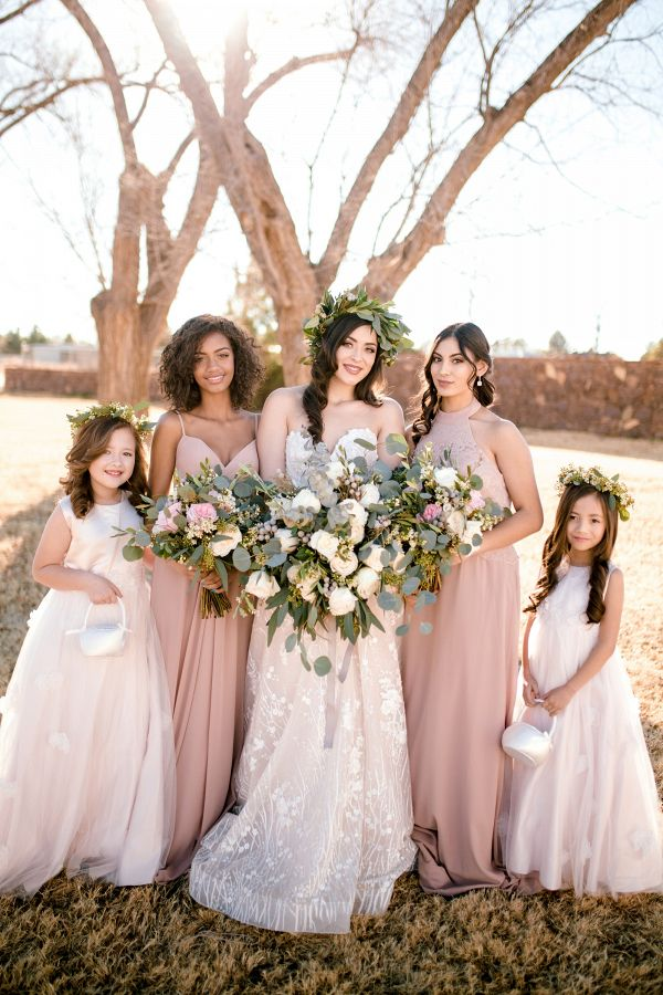 Bridesmaids in taupe with flower girls  #wedding #weddings #weddinginspiration #engaged #aislesociety #greenerywedding