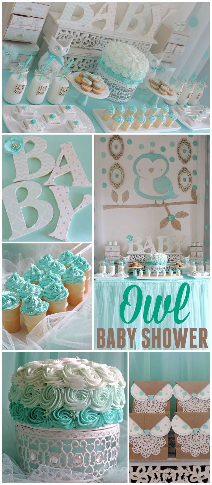 You have to see this gorgeous owl baby shower! See more party ideas at CatchMyParty.com!