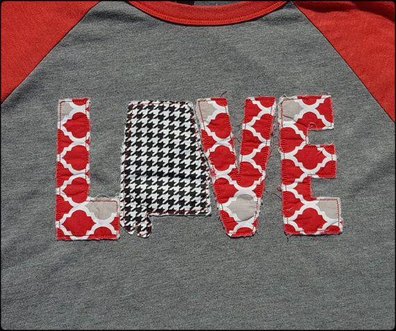 Roll Tide Roll!!! This Alabama Love Shirt is perfect for Football season or just for all year long. This listing is for a Unisex 3/4 sleeved gray and red Raglan Baseball Tee Shirt. These shirts are very soft and thin enough for summer. They are running true to size. See picture for sizing specifications.  The Embroidery Design is a Ragged Look. The fabric on the embroidery is meant to unravel. The more it is washed the more it unravels. Dont worry about the fabric coming off. It is secured…
