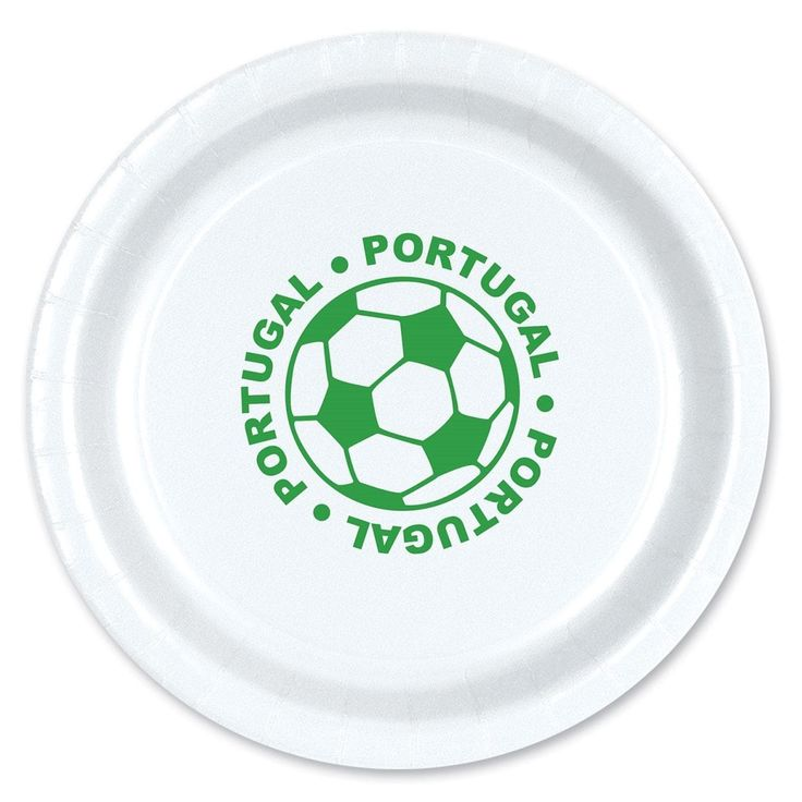 """Club Pack of 96 Green and White Disposable Portugal"""" Soccer Ball Paper Party Dinner Plates 9"""""""