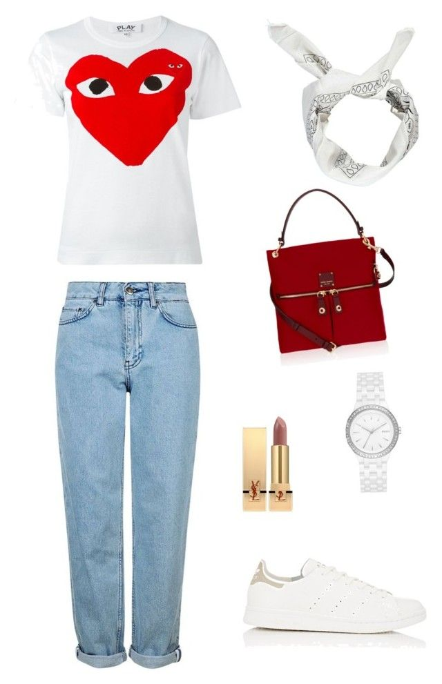 """""""COOL OUTFIT"""" by juliapedersen0 on Polyvore featuring Play Comme des Garçons, Topshop, adidas, Boohoo, Yves Saint Laurent, Henri Bendel and DKNY"""