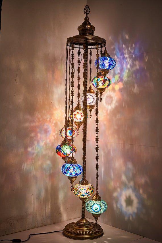 9 Big Globes Turkish Moroccan Mosaic Floor Lamp 6feet Etsy Moroccan Mosaic Mosaic Flooring Floor Lamp