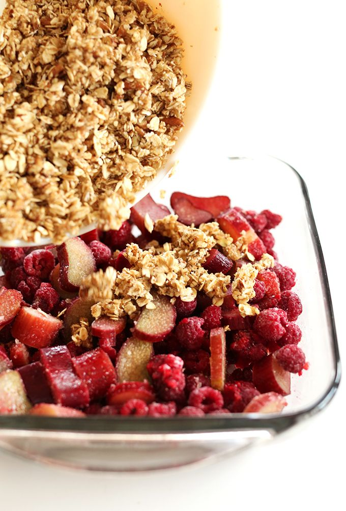 Raspberry Rhubarb Crisp #vegan and #gluten-free! (Super easy, use most any fruit, even frozen)