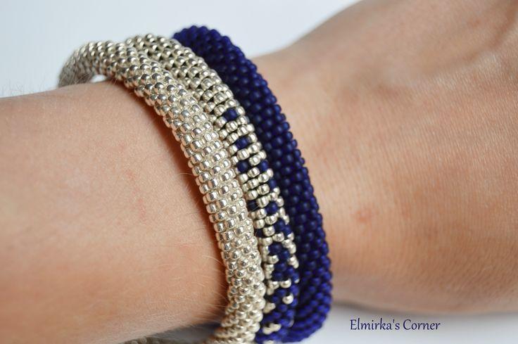 Matt dark blue beads with silver handmade bead bracelet see more: https://www.facebook.com/ElmirkasCorner/posts/849549191819168