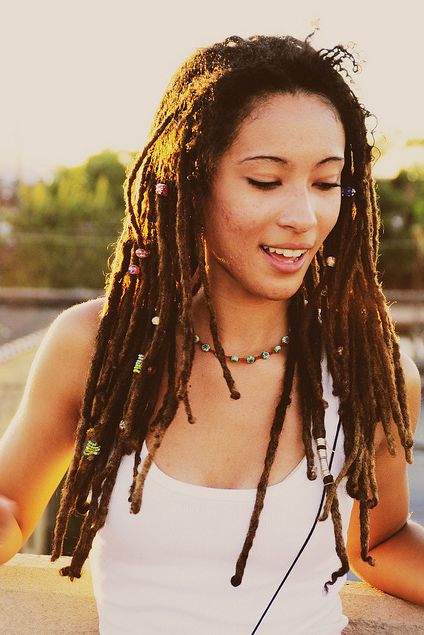 beautiful dreadlocks with beads.    Can I just have this hair please?