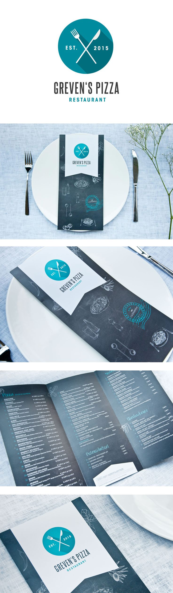 Corporate Design, Logo and Menue for an Italian Restaurant / Pizzeria / Ristorante  #pizza #food #yummi  www.save-design.de