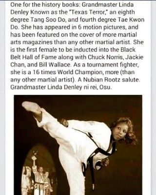 Linda Denley. Black woman martial arts master.