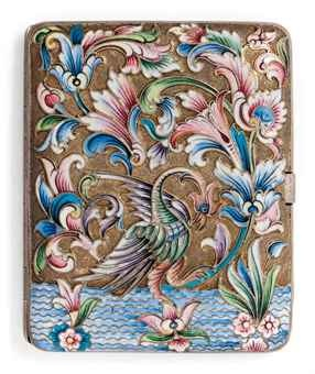 A RUSSIAN SILVER-GILT AND CLOISONNE ENAMEL CIGARETTE CASE MARK OF NIKOLAY ZVEREV, MOSCOW, 1908/17 Both sides decorated with an eagle on water flanked by flowers and foliage in shaded pastel colours, gilt interior 4 in. long (10 cm.)