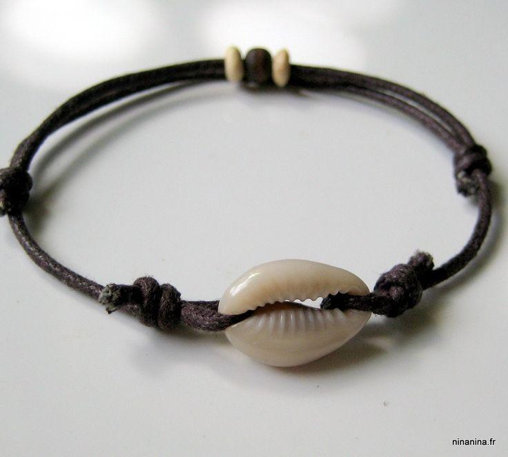 Bracelet coton ciré mixte coquillage grain de café N2787 : Bijoux pour hommes par ninanina