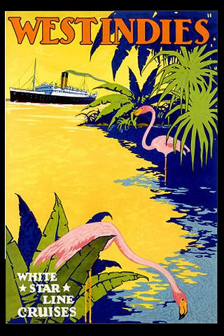 White Star Line West Indies travel poster.White Star Line is the same ship company that built The Titanic so I am guessing that this was the same time period,1910-1912.