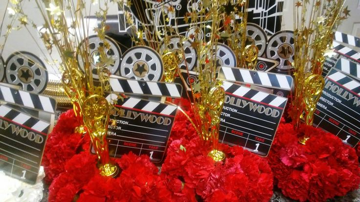 Oscar themed red carnations centerpieces by TheresAGift4U