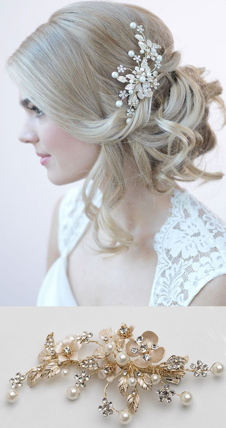 Gorgeous wedding side bun accented with a delicate floral gold bridal comb <3