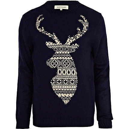 This navy fair isle stag jumper is a must-have this winter #riverisland #christmascracker #noveltyknit