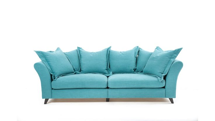 Delfinen turkos soffa. Linne, linnetyg, djup soffa, vardagsrum. http://sweef.se/soffor/323-delfinen-soffa-med-hog-rygg.html
